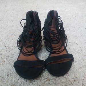 Matiko strappy black leather wedge